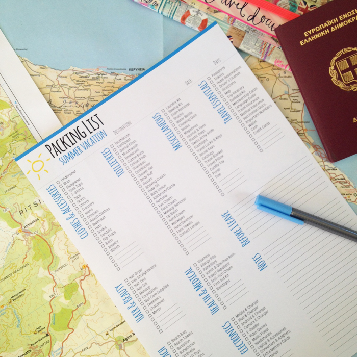 Going on Vacation with your Bullet Journal - Packing List Printable
