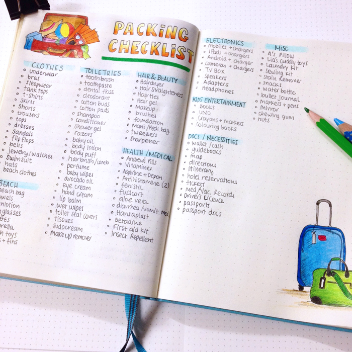 Going on Vacation with your Bullet Journal - Packing List