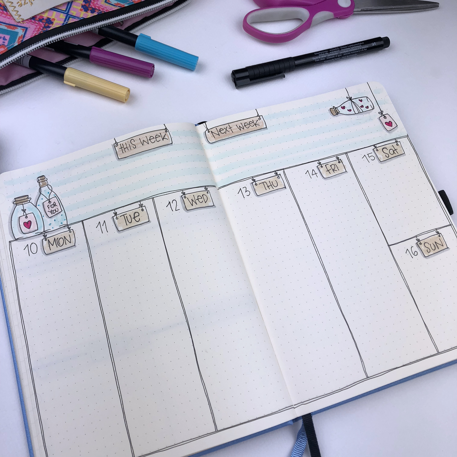 5 Weekly Spread Layouts for your Bullet Journal - September 2018