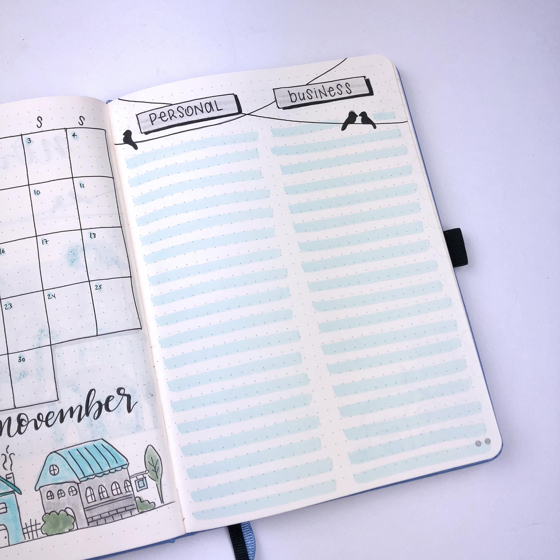 Bullet Journal Setup - November 2018