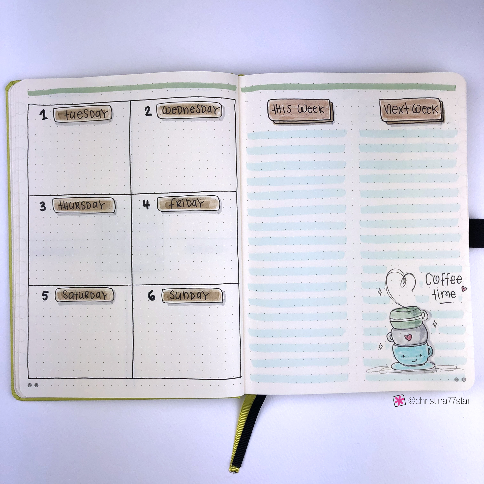 4 Weekly Spread Ideas for your Bullet Journal - January 2019