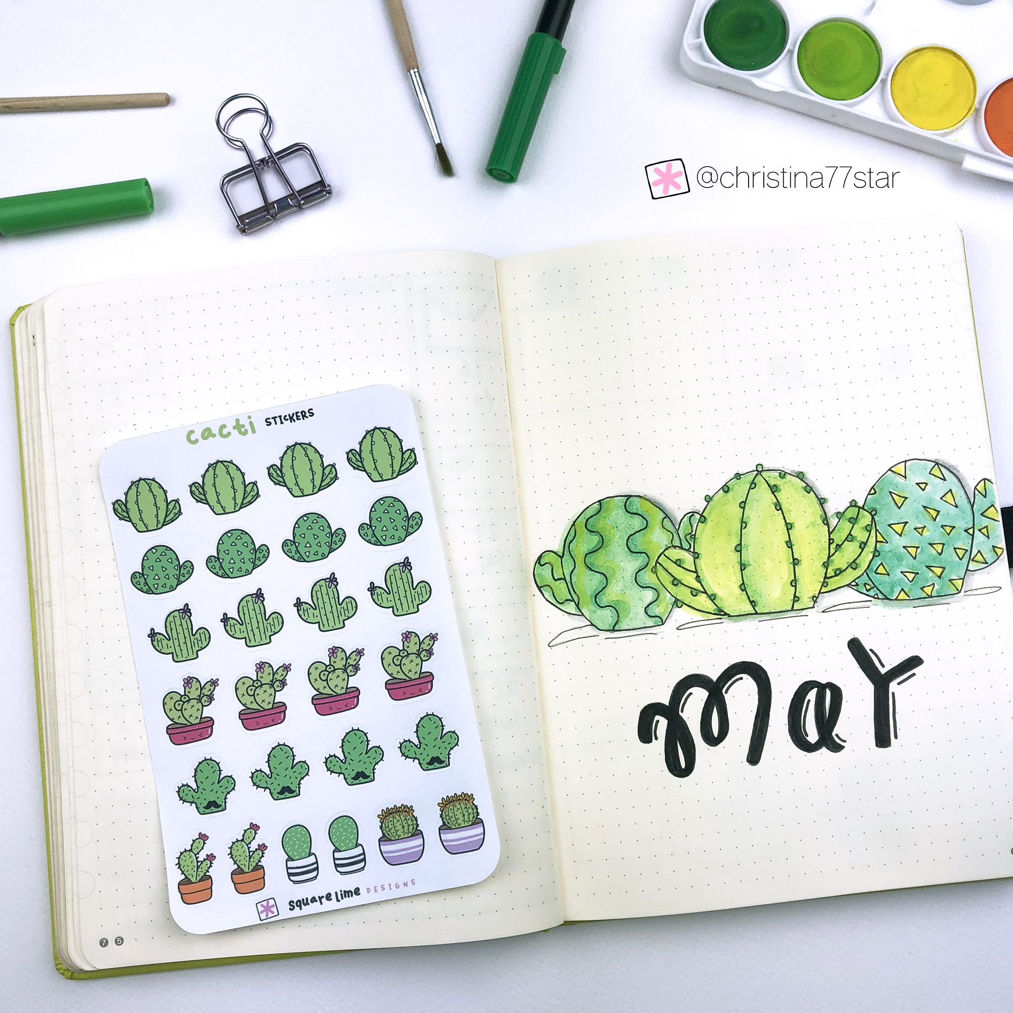 Cacti Stickers - May 2019 bullet journal setup - www.christina77star.net