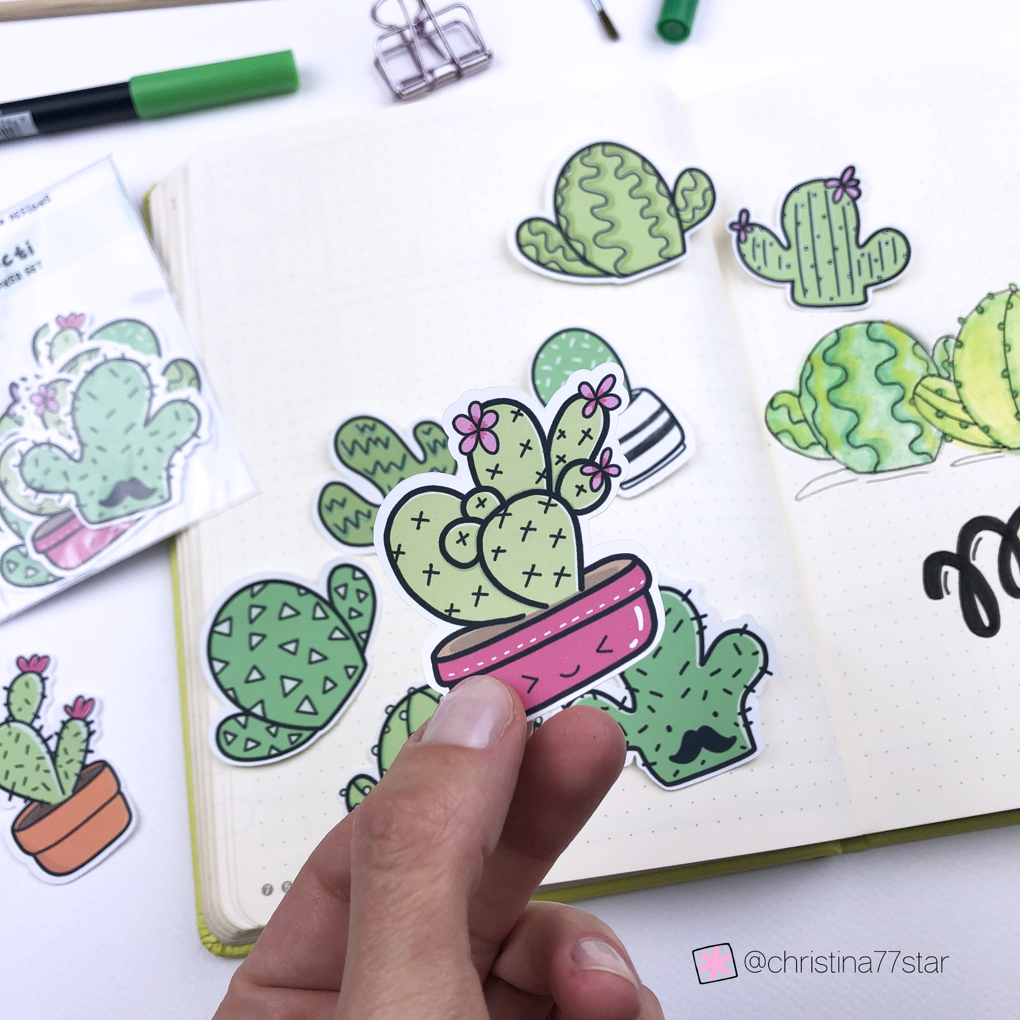Die Cut Cacti Stickers - May 2019 Bullet Journal setup - www.christina77star.net