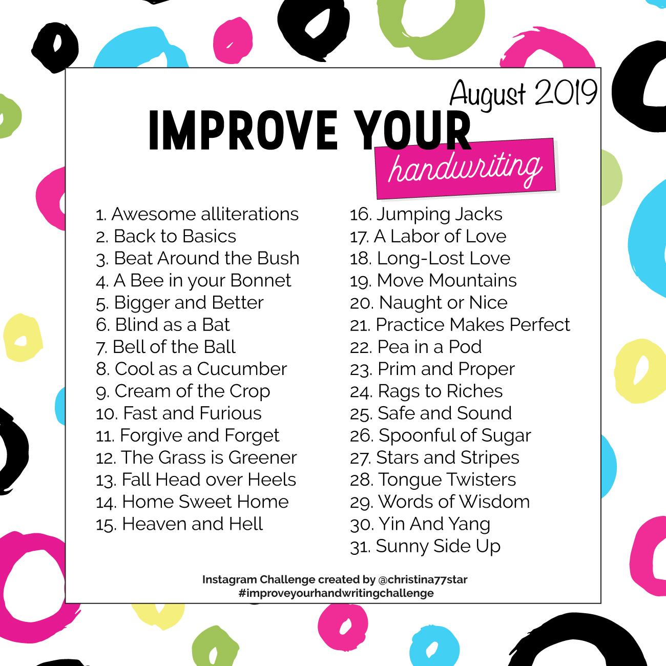 Improve Your Handwriting Challenge - August 2019 | christina77star