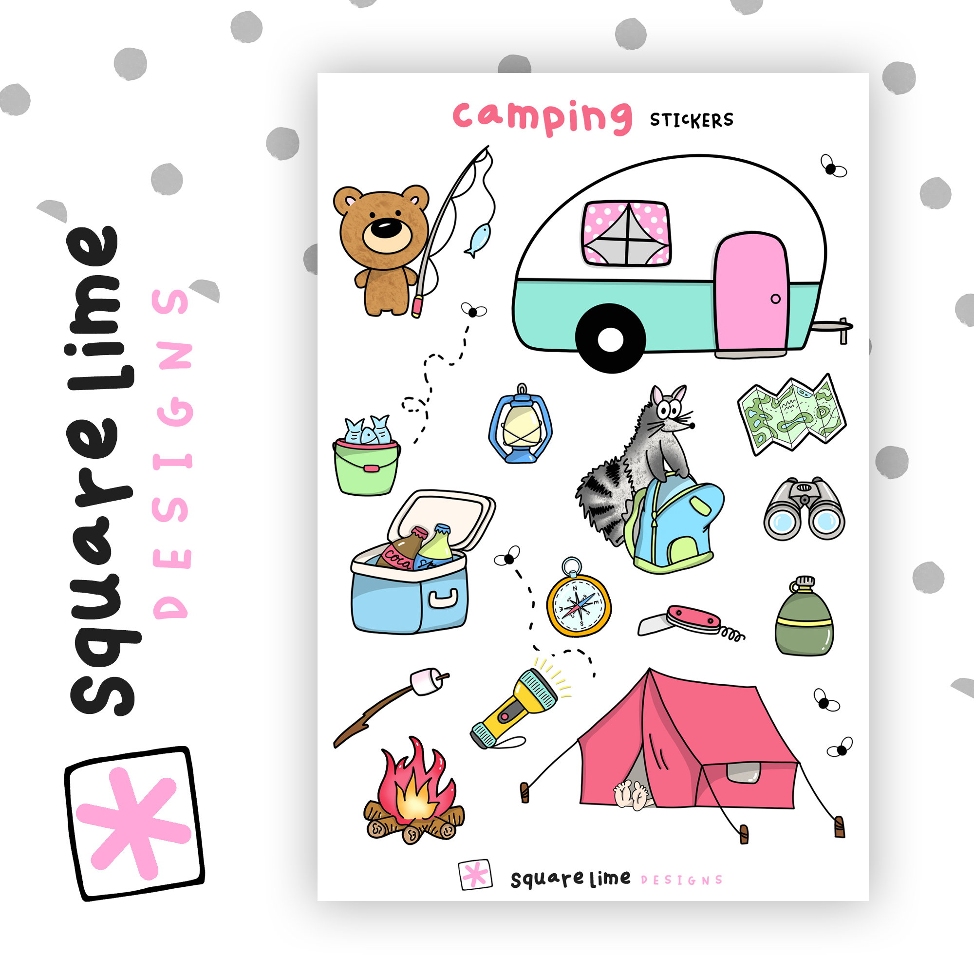 Camping Stickers - July 2019 bullet journal setup - squarelimedesigns.com