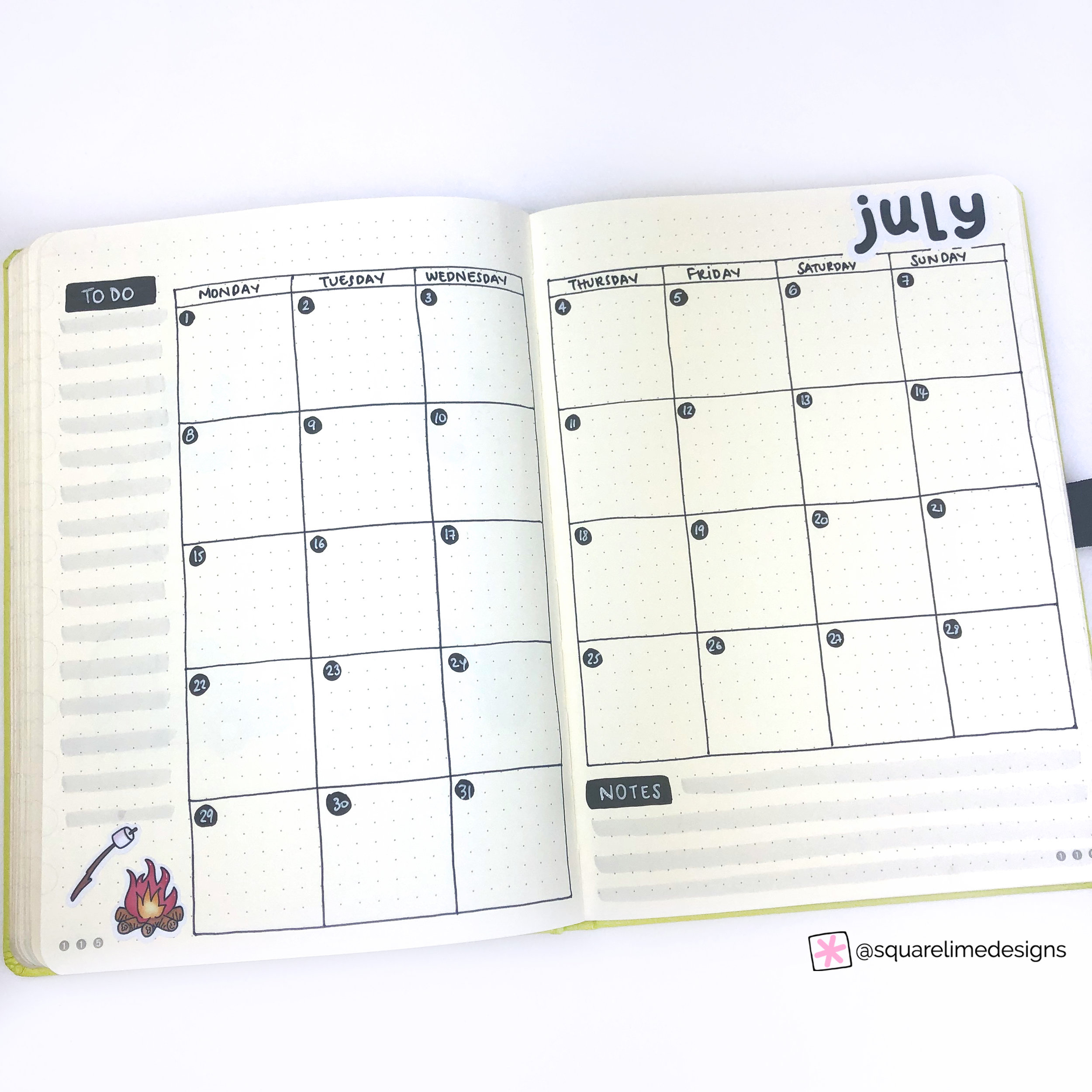 Bullet Journal Monthly Layout for July 2019 - Monthly Layout Page