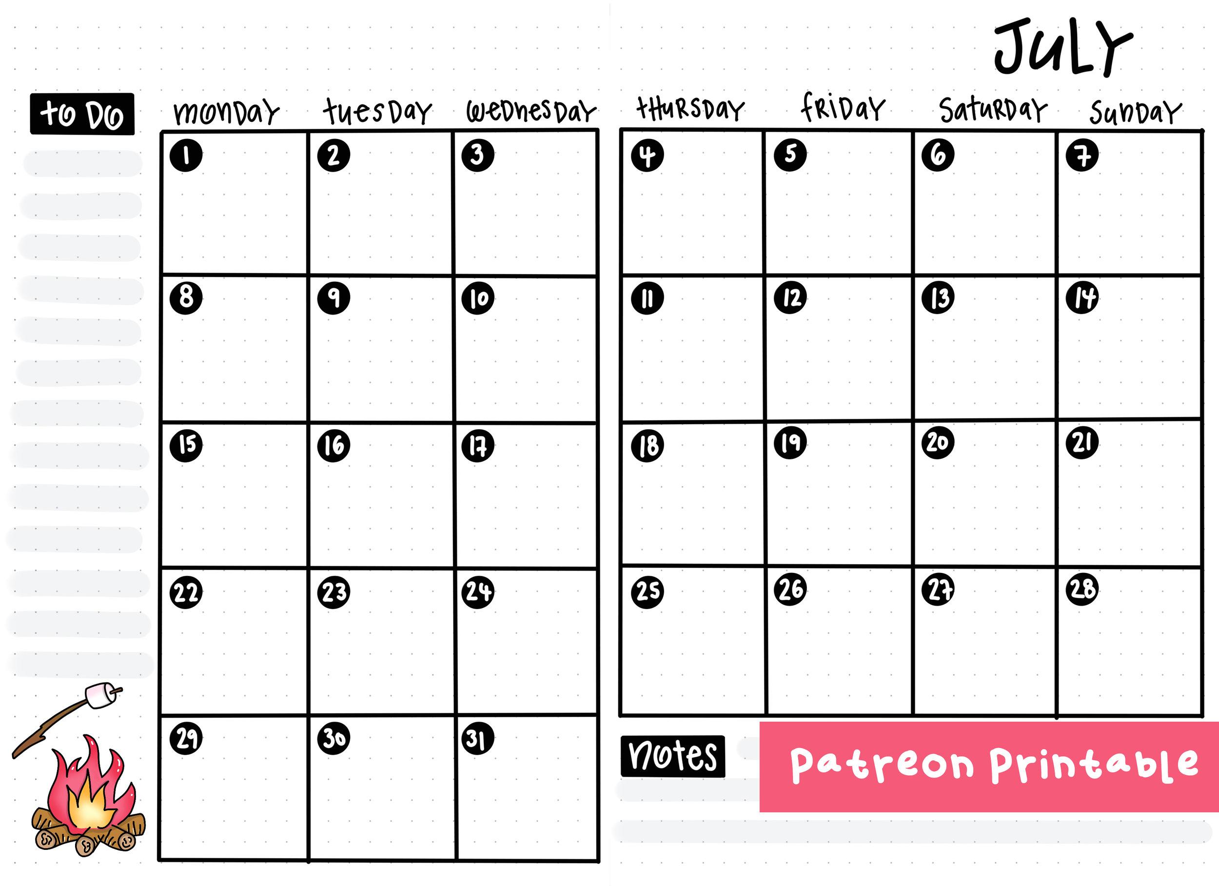 Patreon Printable - July 2019 Bullet Journal setup