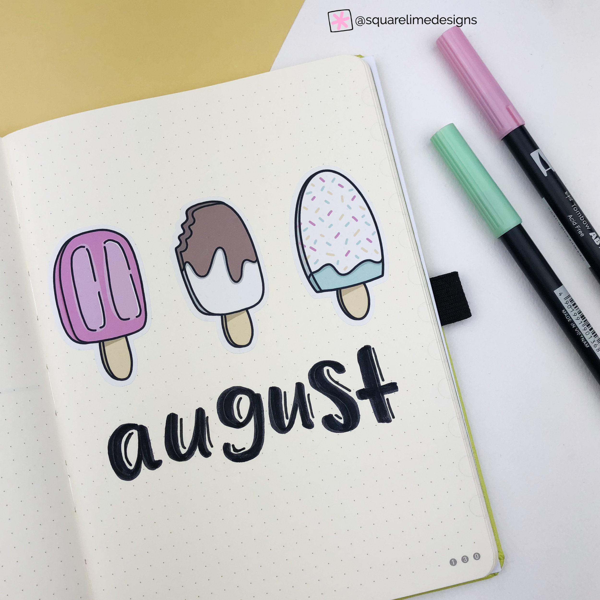 Front Page - Ice Cream Theme - Bullet Journal Plan with Me - August 2019