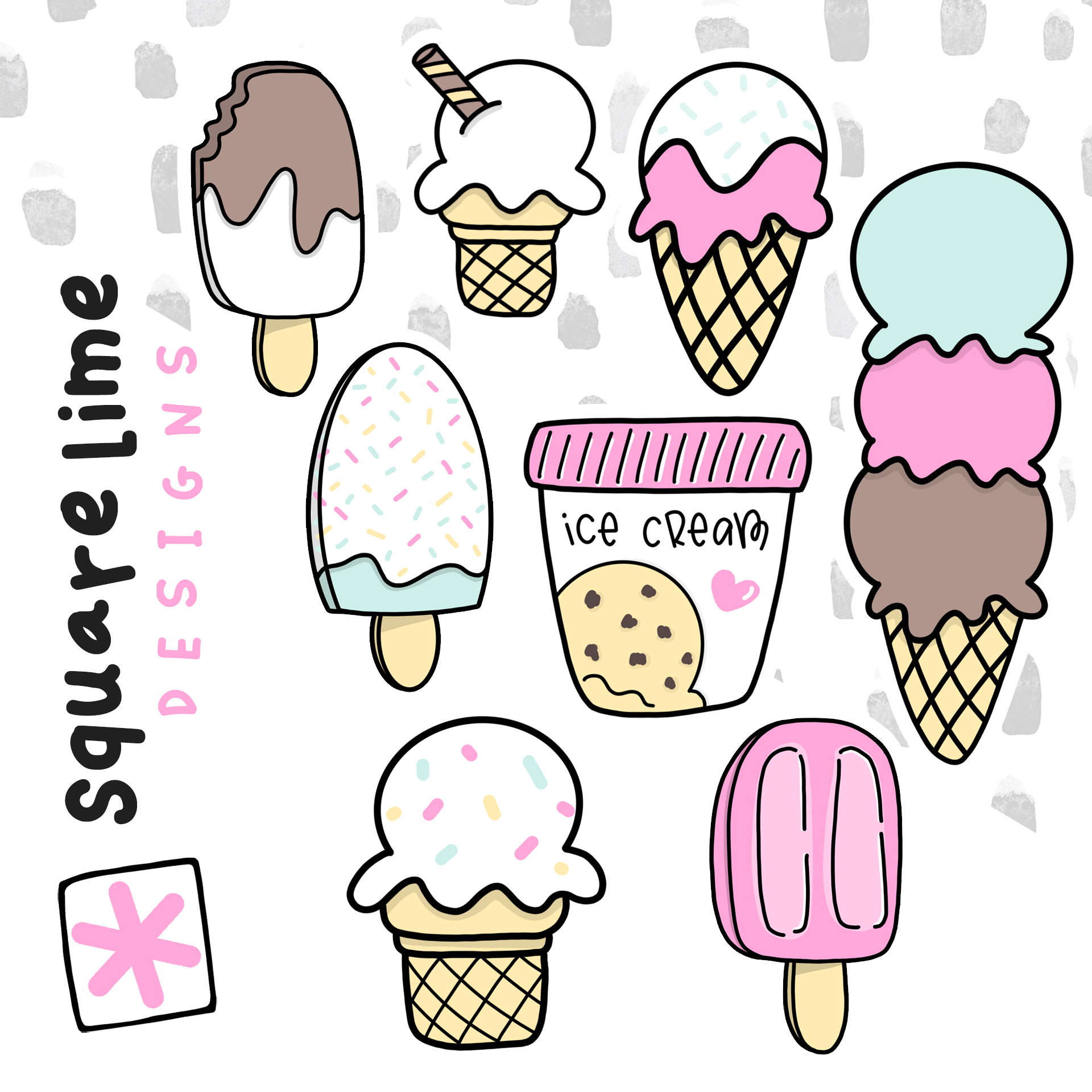 Ice Cream Stickers - August 2019 bullet journal setup - squarelimedesigns.com