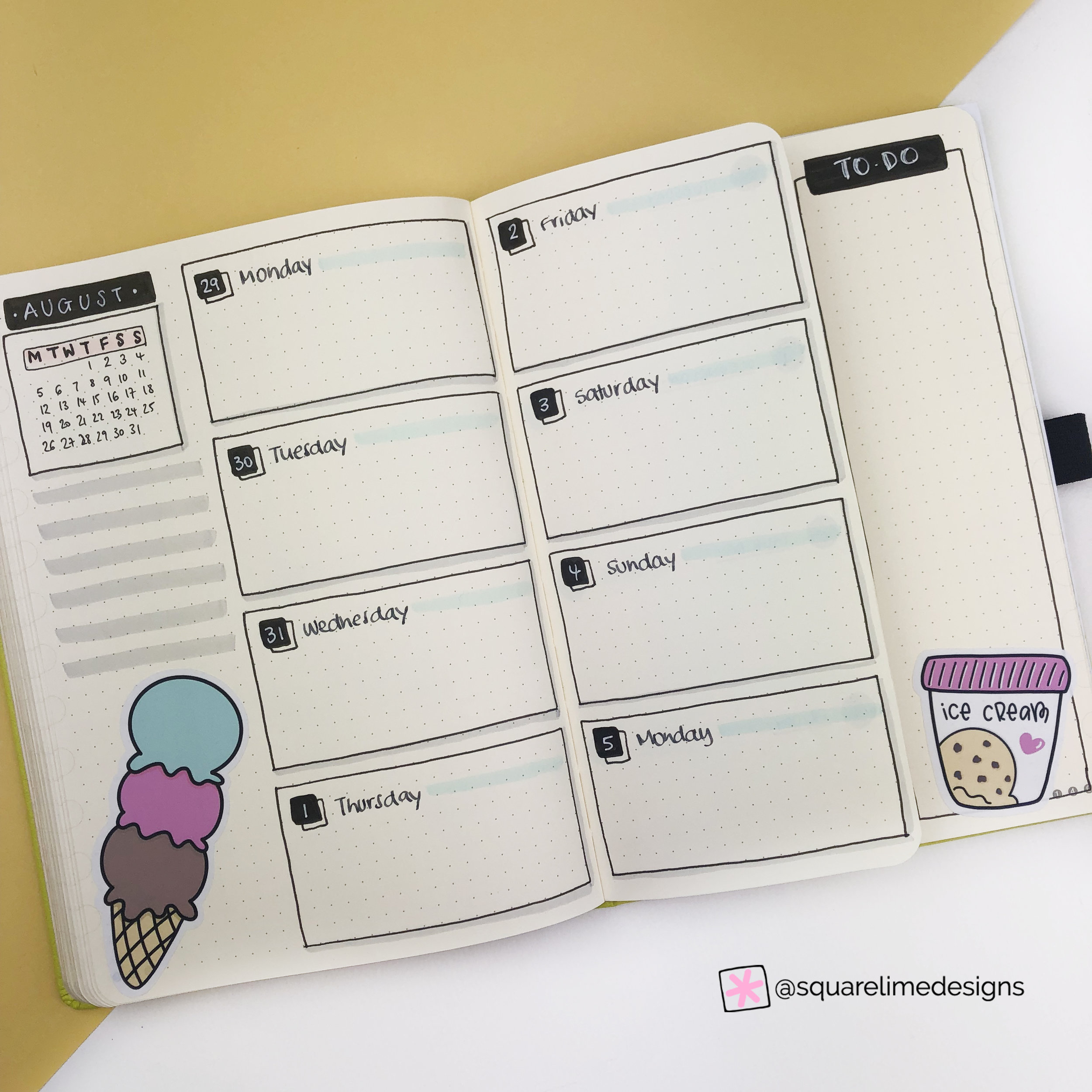 Plan With Me - Bullet Journal Monthly Setup for August 2019 - Weekly Spread 1