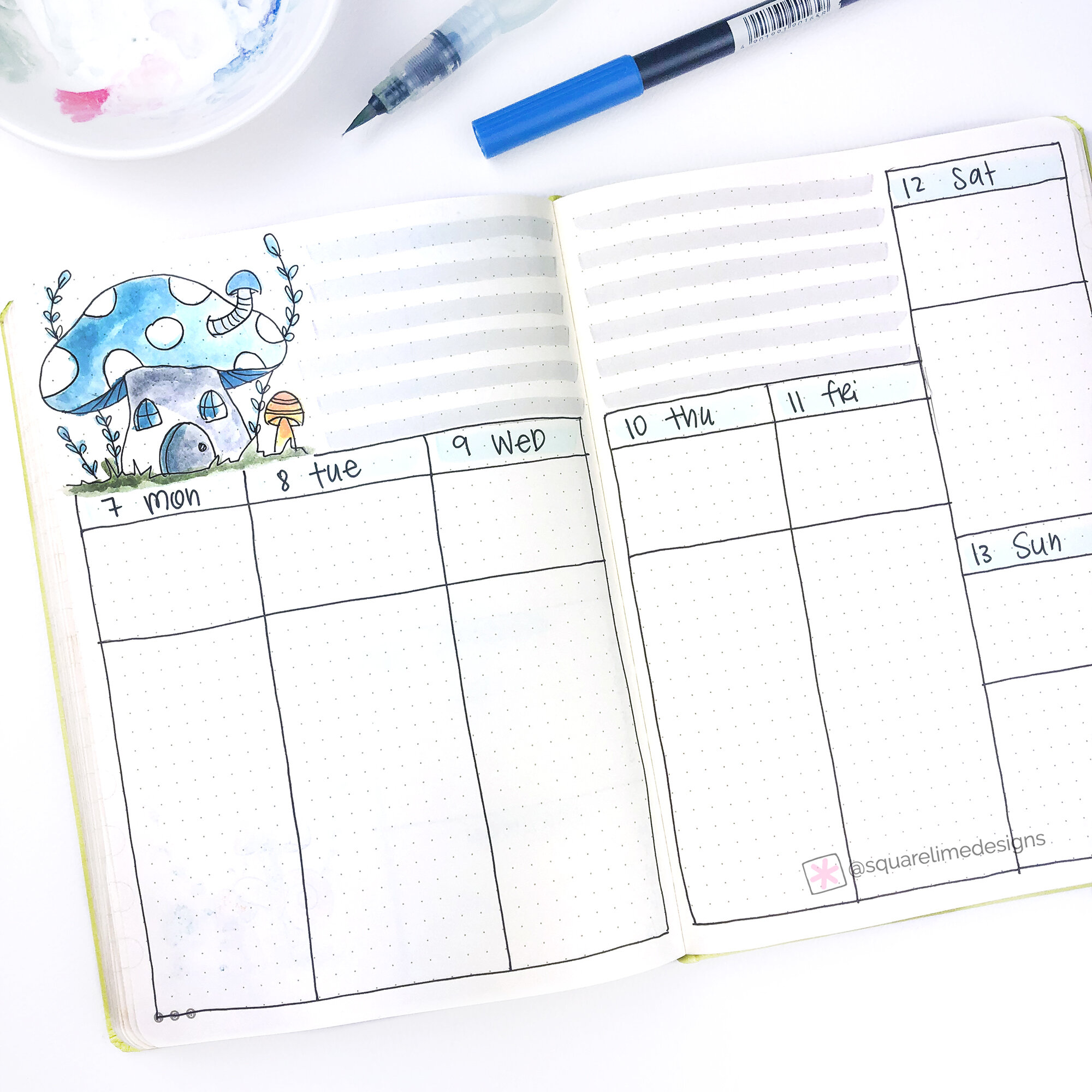 Bullet Journal Weekly Spread Ideas for October 2019 - www.squarelimedesigns.com