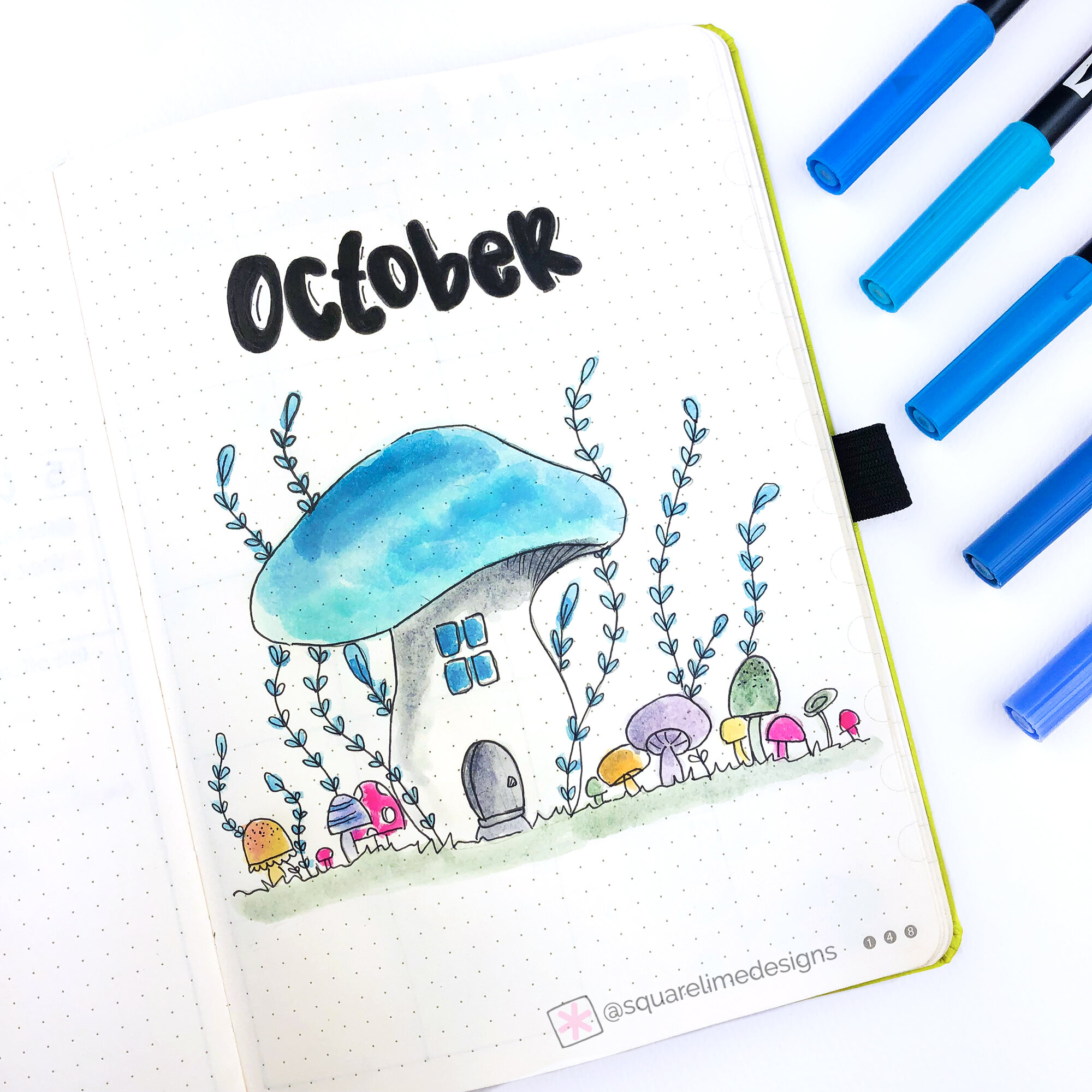 Front Page - Mushroom Theme - Bullet Journal Plan with Me - October 2019