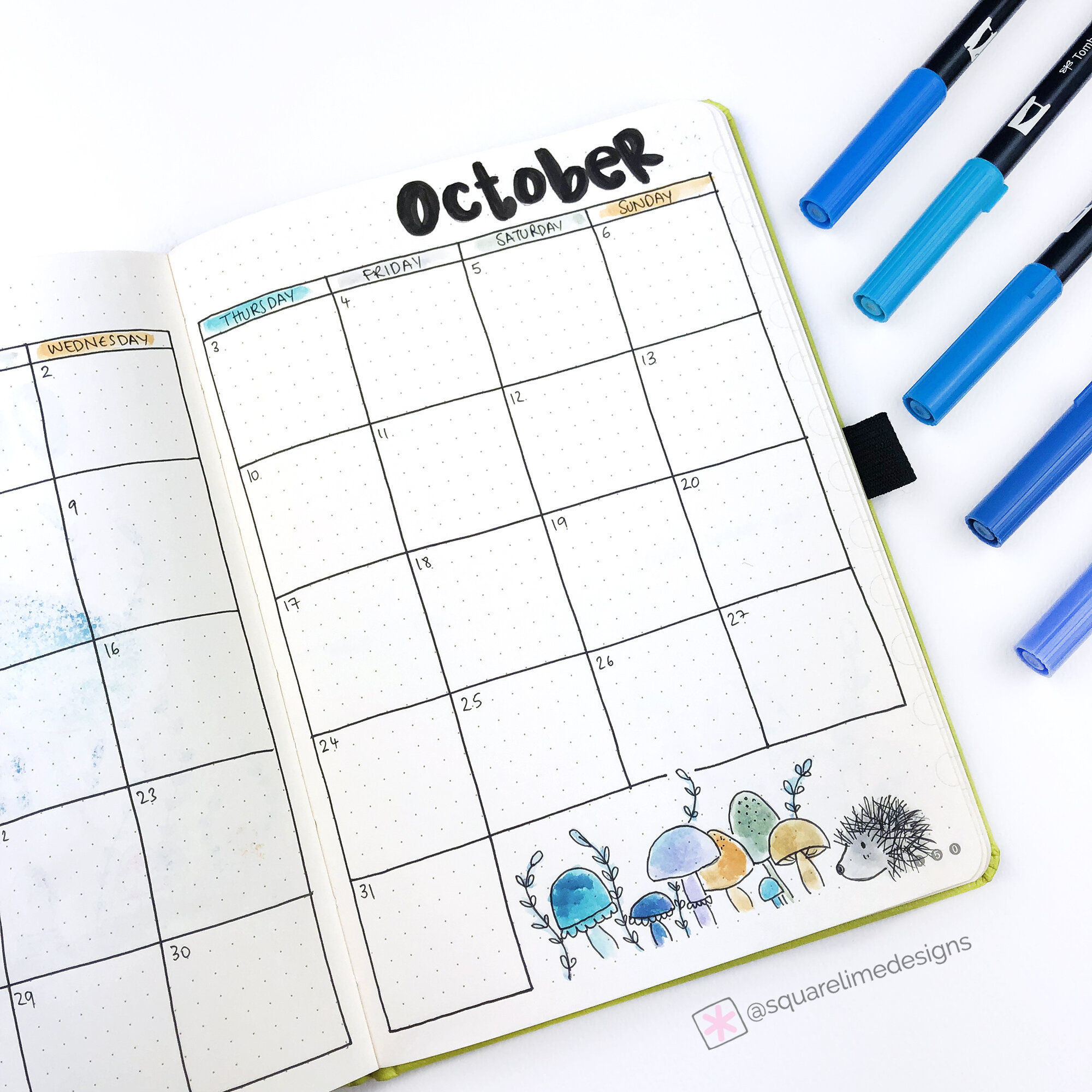 Monthly Layout - Bullet Journal - October 2019 - Square Lime Designs