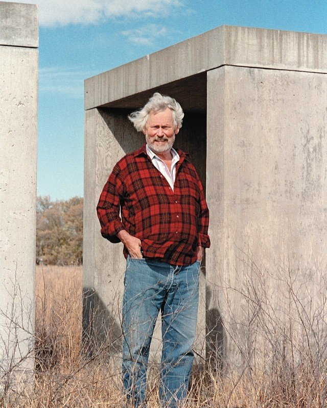 Judd in Marfa with 15 untitled works in concrete, 1980-­1984. Via  @chinatifoundation .