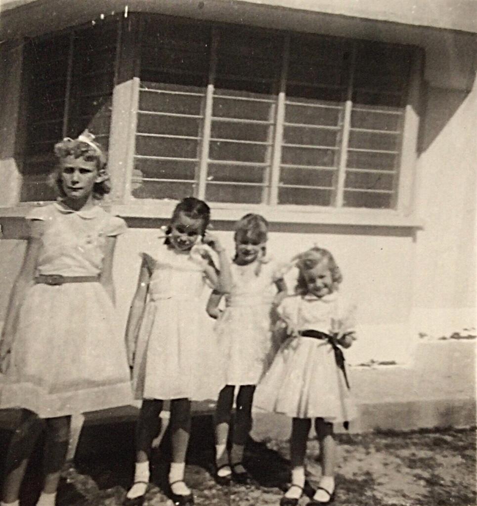 Deedee's 8th Birthday Party 1957 - the four Newton sisters - Kirkuk, Iraq