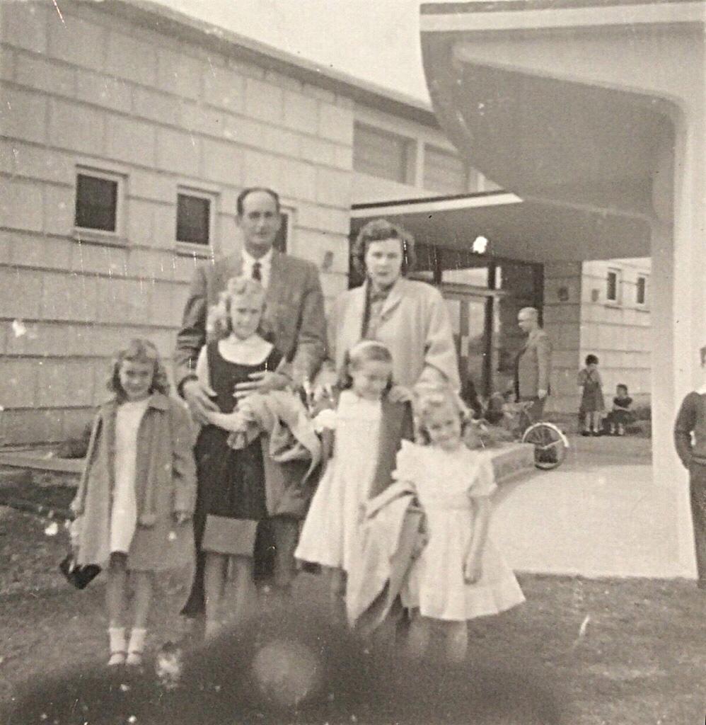 The Newton Family outside of the club - 1957 - Kirkuk, Iraq
