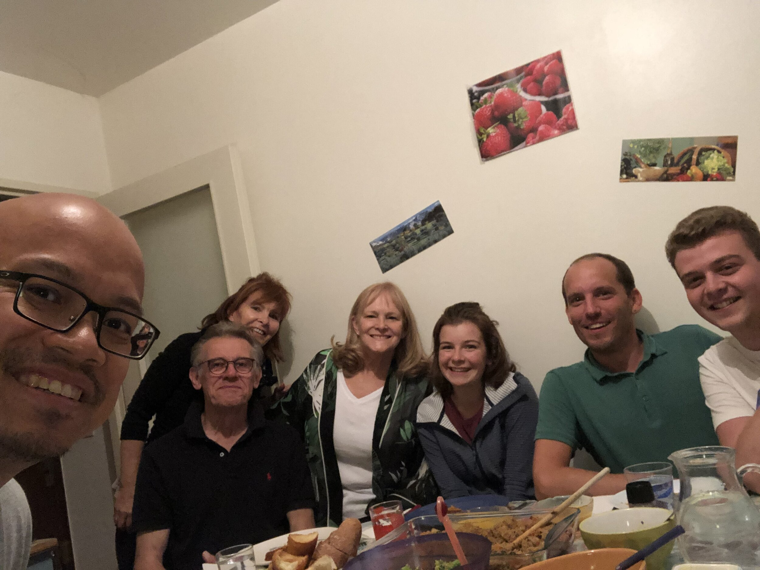 "Dinner with the gang (Left to right).  Elvin  taking the selfie,  Wolfgang  my ""walking to school each day"" buddy,  Patricia  hidden a bit behind with the red hair, me,  Lea  studying to be a doctor,  Jan  there for 9 months,  Daniel  a new arrival."