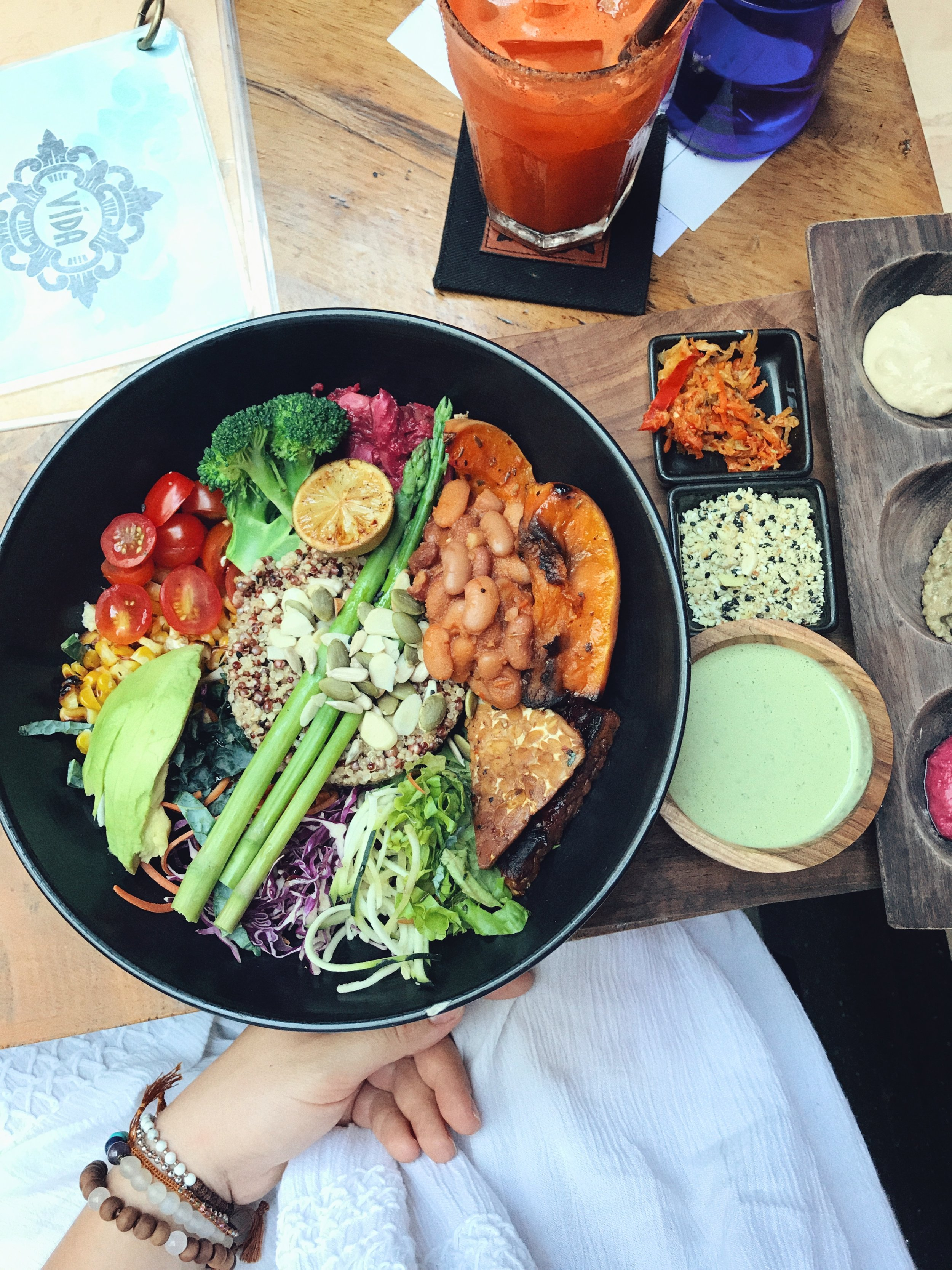 The healthy bowl. It is SO EXTRA. Gotta love a dish that offers an excess of condiments.