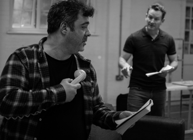 Gerry Lynch and Tim Walton rehearse THE ODD COUPLE for Vienna's English Theatre.  Image courtesy of Lily Dart