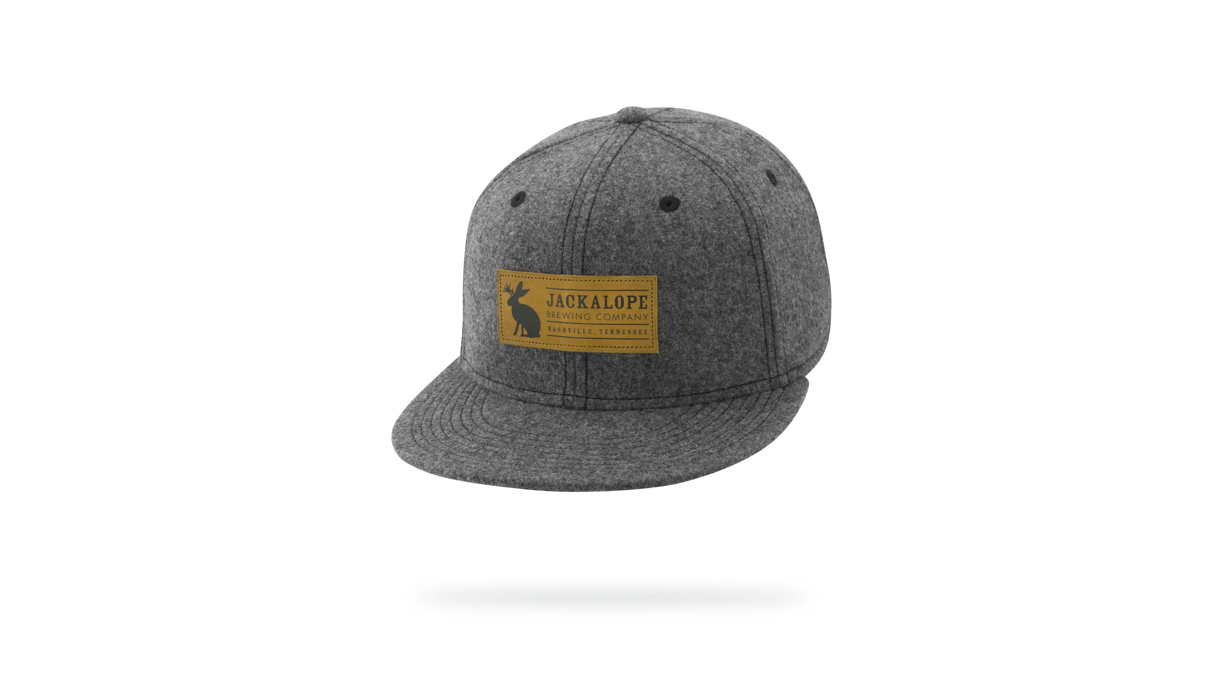 Featured Hat: NEW Polyester-Wool Flat Bill SnapBack Cap w/ Leather Patch Applique