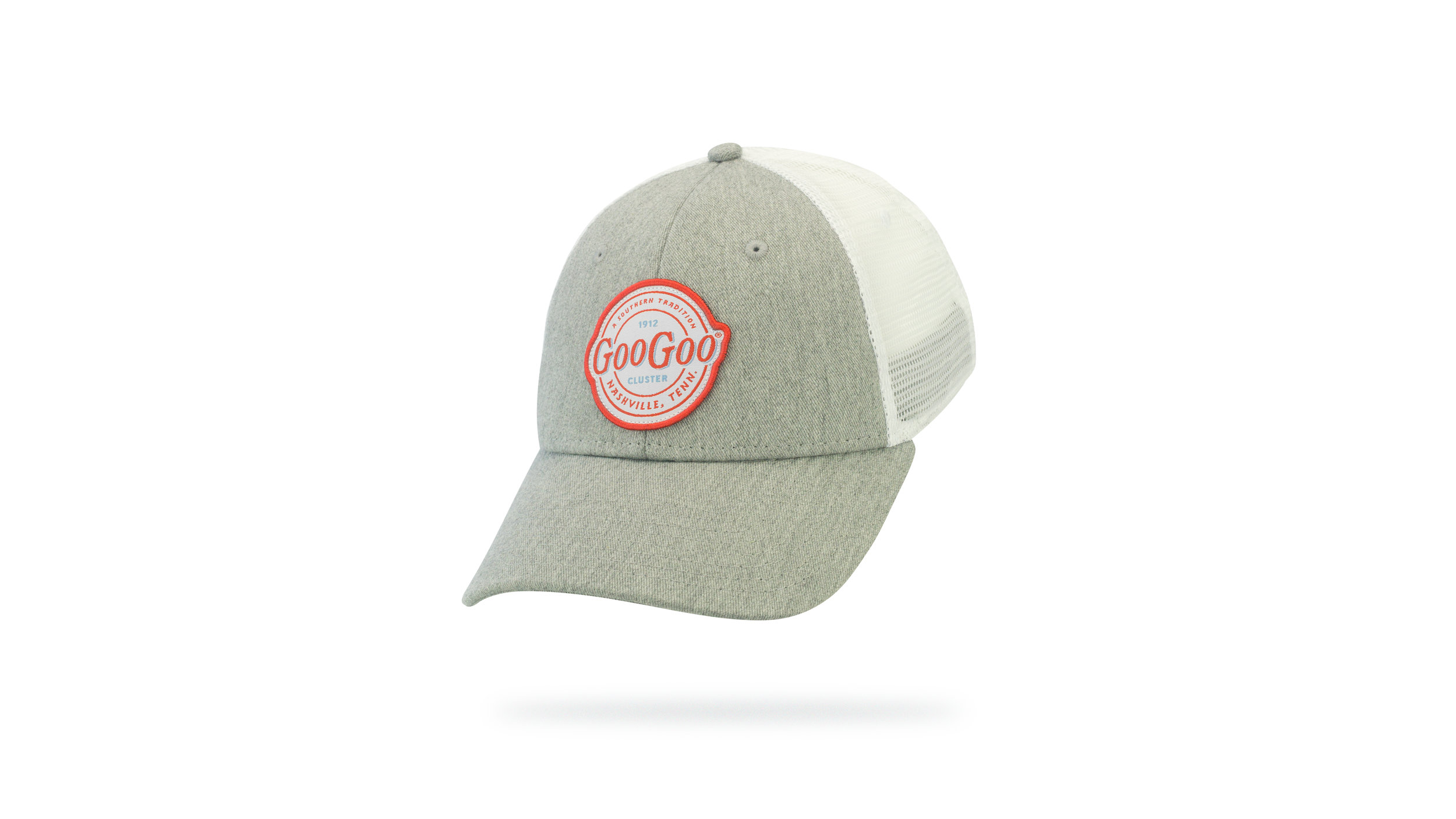 Featured Hat: STYLE IV - Vintage Trucker Cap w/ Woven Label Applique & Heather Twill front panel/visor