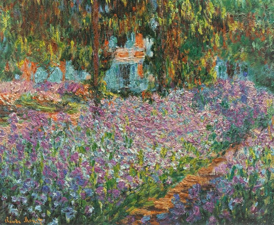 THE ARTISTS GARDEN AT GIVERNY  1900 BY CLAUDE MONET