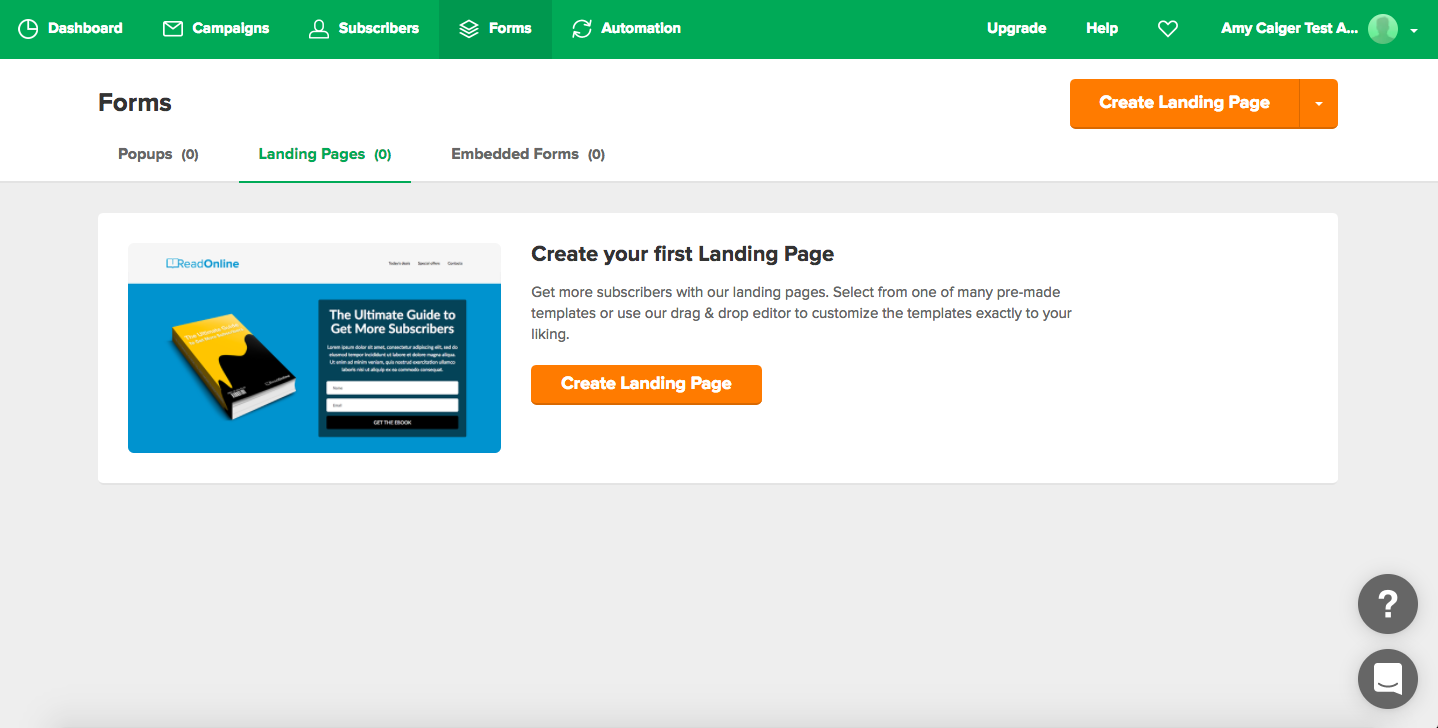 MailerLite Landing Page page - simple and once clicked on 'create and landing page' you get step by step instructions on how to create the page
