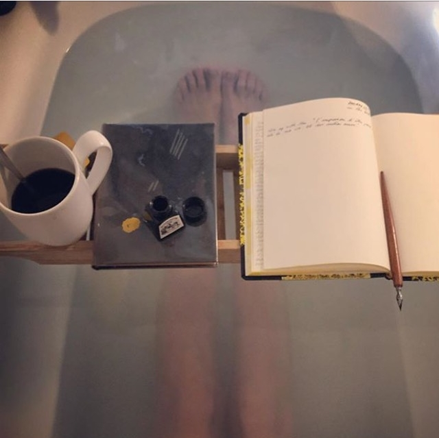 Writing a list in a bath = Virgo + Pisces meeting ground.