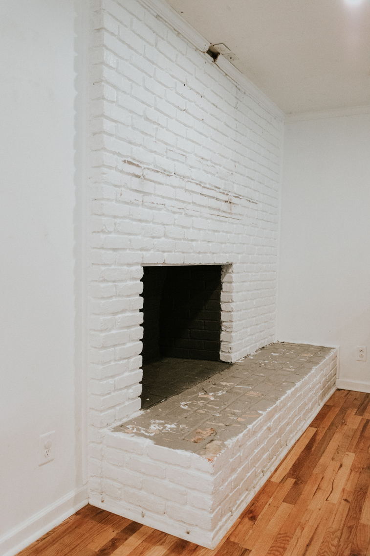 BEFORE WE REMOVED OUR BRICK FIREPLACE HEARTH