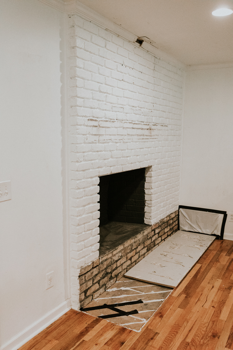 AFTER WE REMOVED OUR BRICK FIREPLACE HEARTH