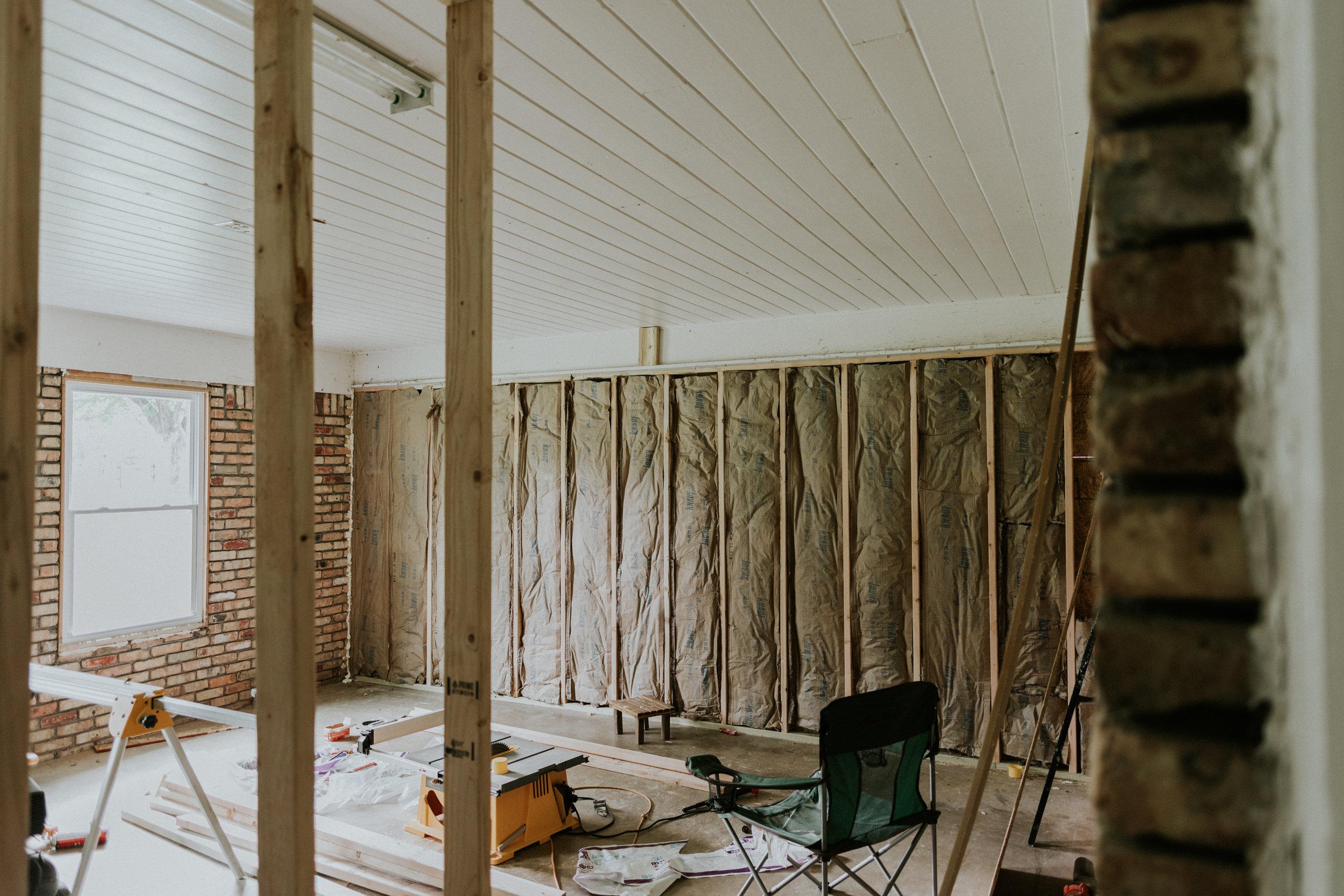Garage renovation- Building a 'hallway', removing garage door, and enclosing the space