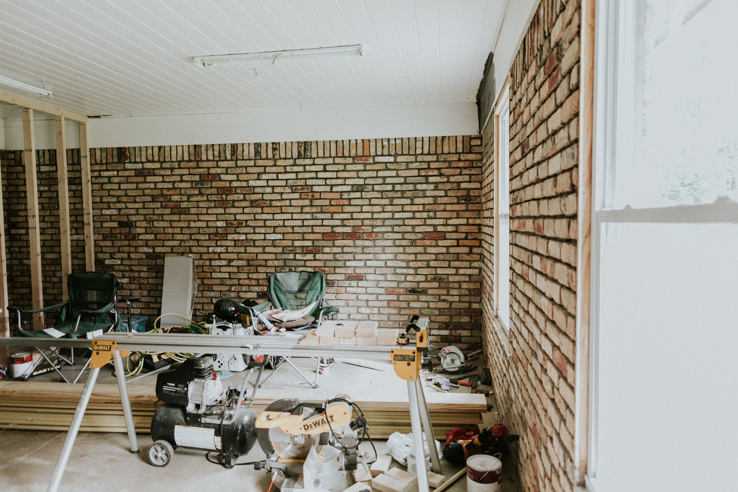 Turning a garage door into livable space