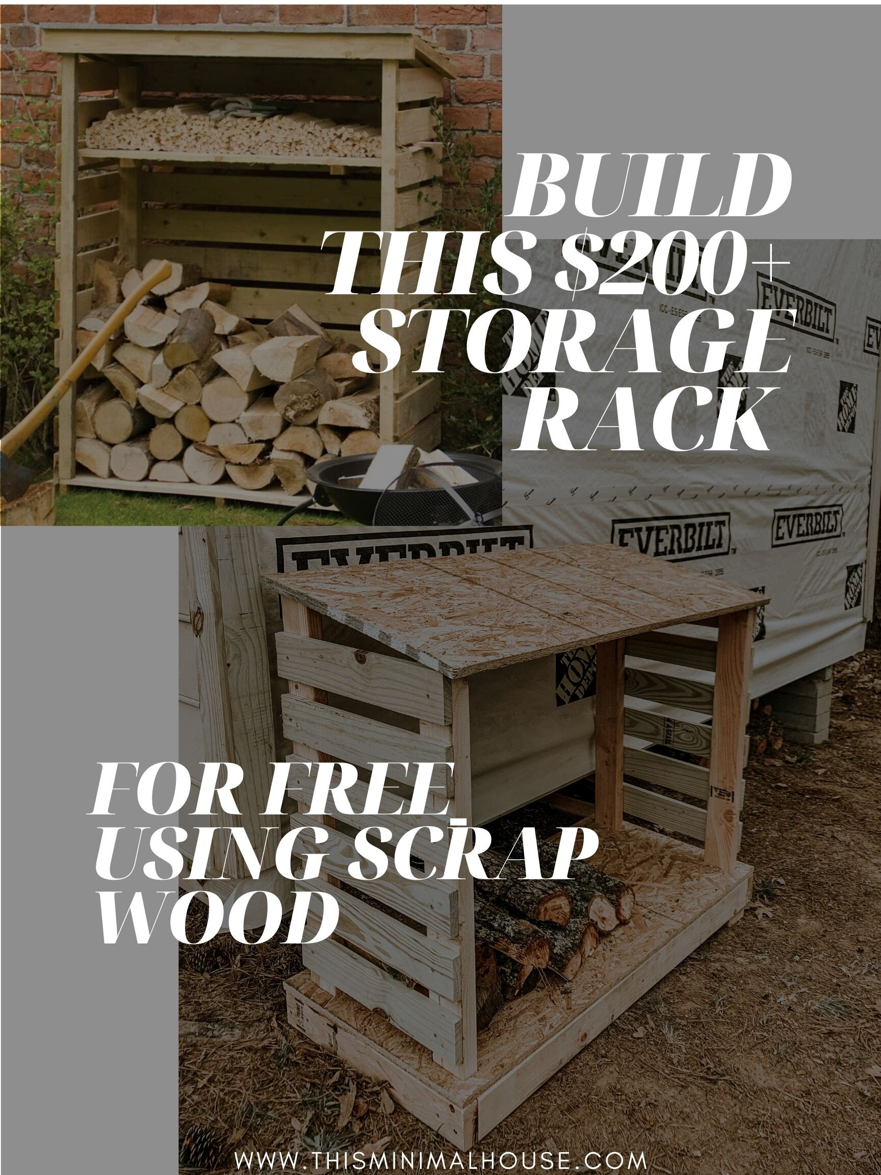DIY wood storage rack