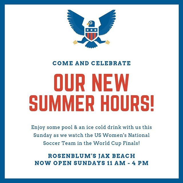"New summer hours at Jax Beach! Come hangout with us this weekend. Plus, shop lots of great new arrivals and our ""Once in a red, white & blue moon"" sale!"