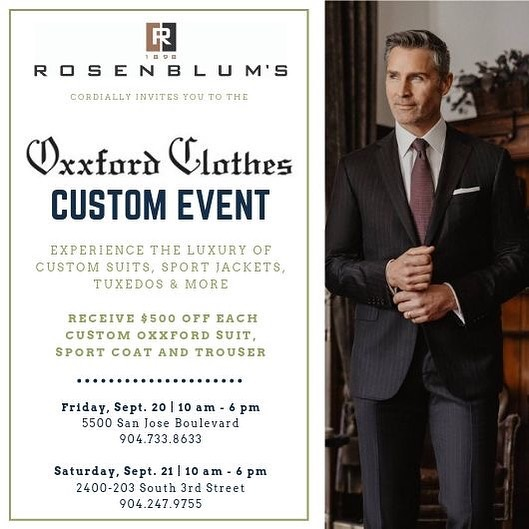 Come experience the luxury of a properly fitting custom suit • Drinks and hors d'oeuvres will be served • Stop by and learn more about Oxxford Clothes.
