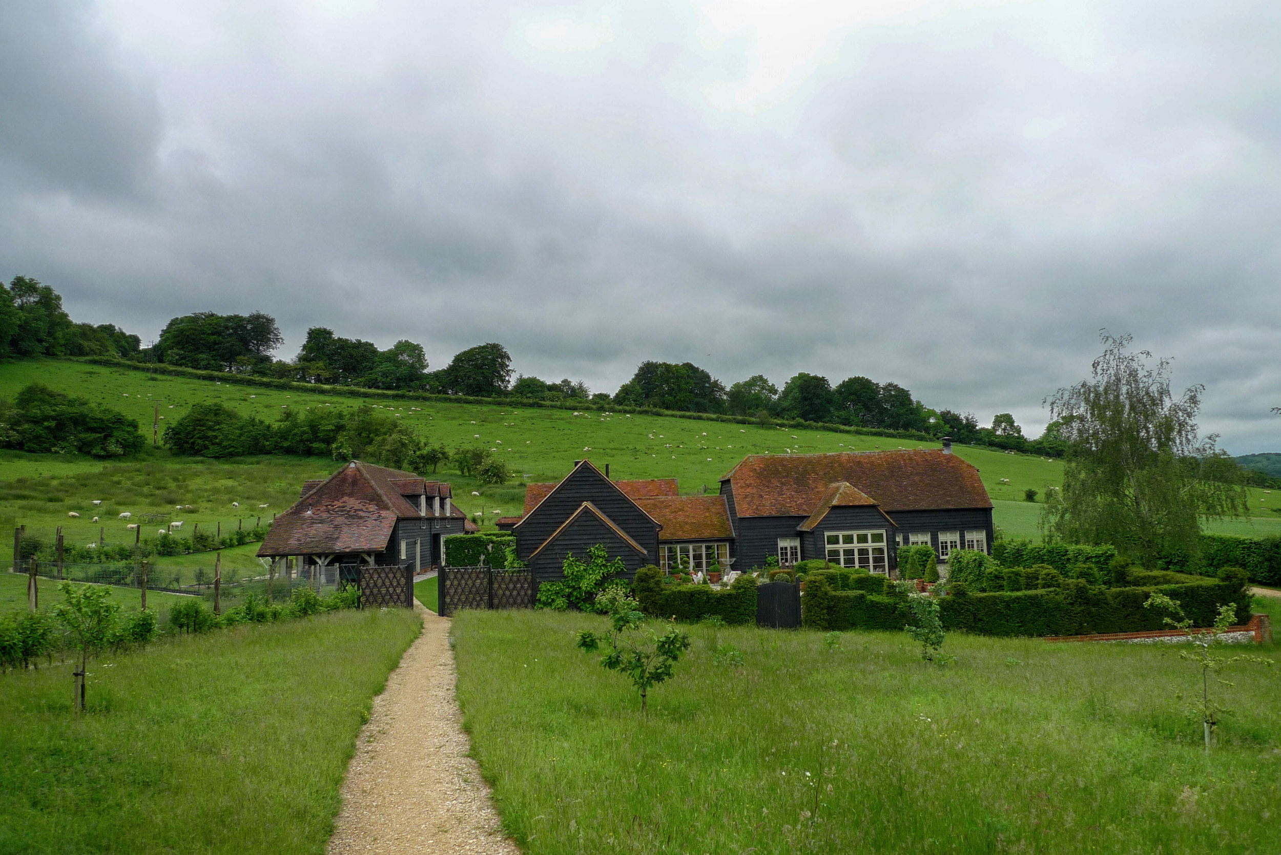 View of finished farm barns