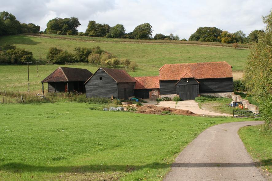 View of farm barns before development
