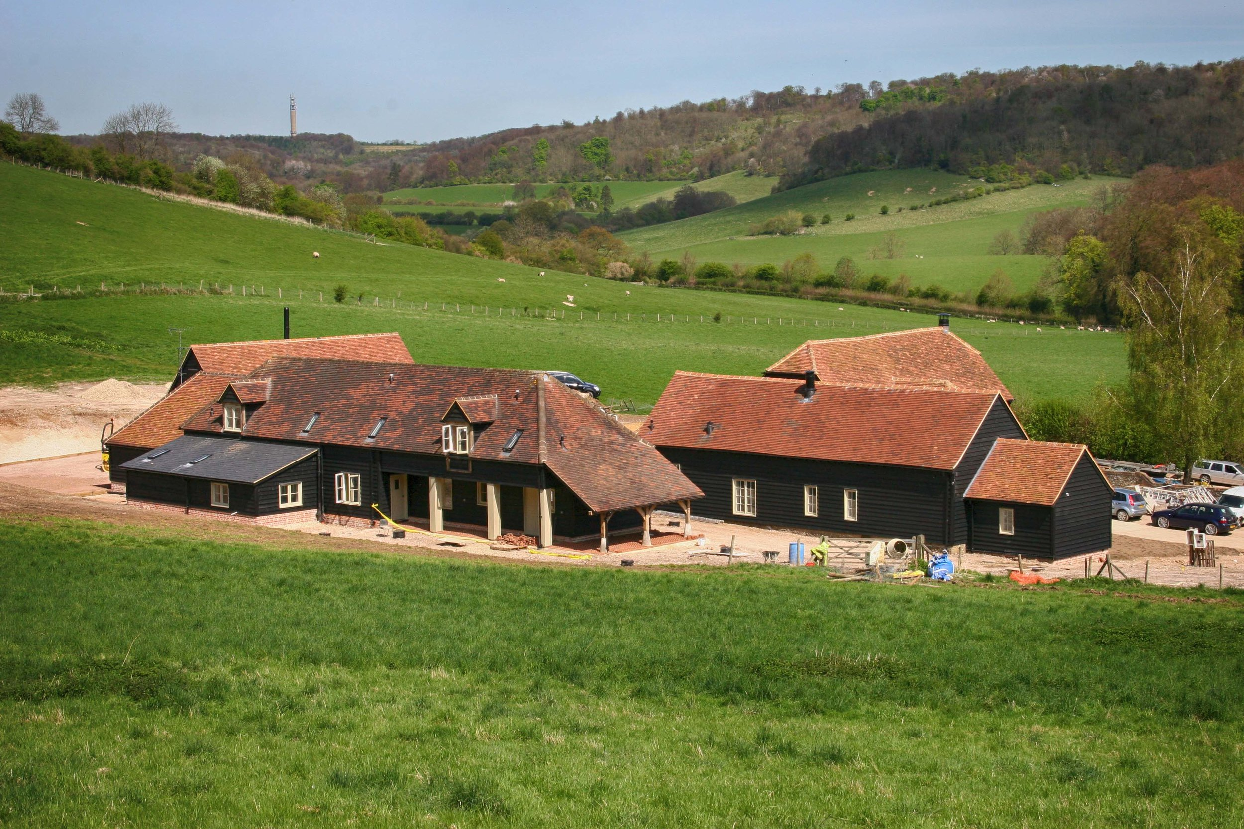 Farm barns under construction