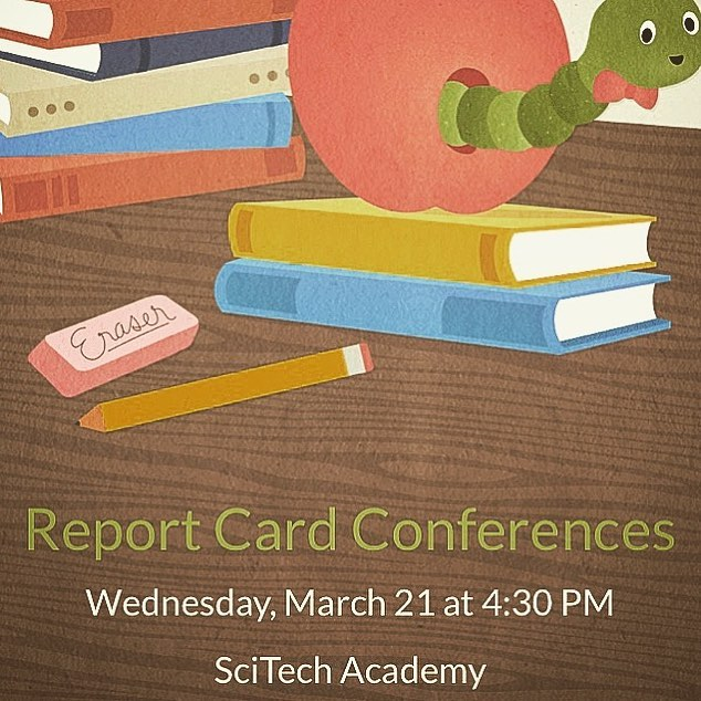 Come to school tomorrow from 4:30-6:30 to pick up your child's report card and meet with teachers to get an update on your scholar's progress. Looking forward to seeing everyone there! #scitech #scitechnola