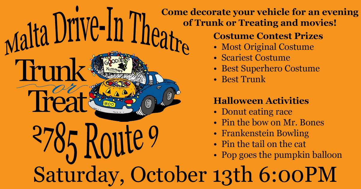 Trunk Or Treat At The Malta Drive In Theatre 10 13 Mini City