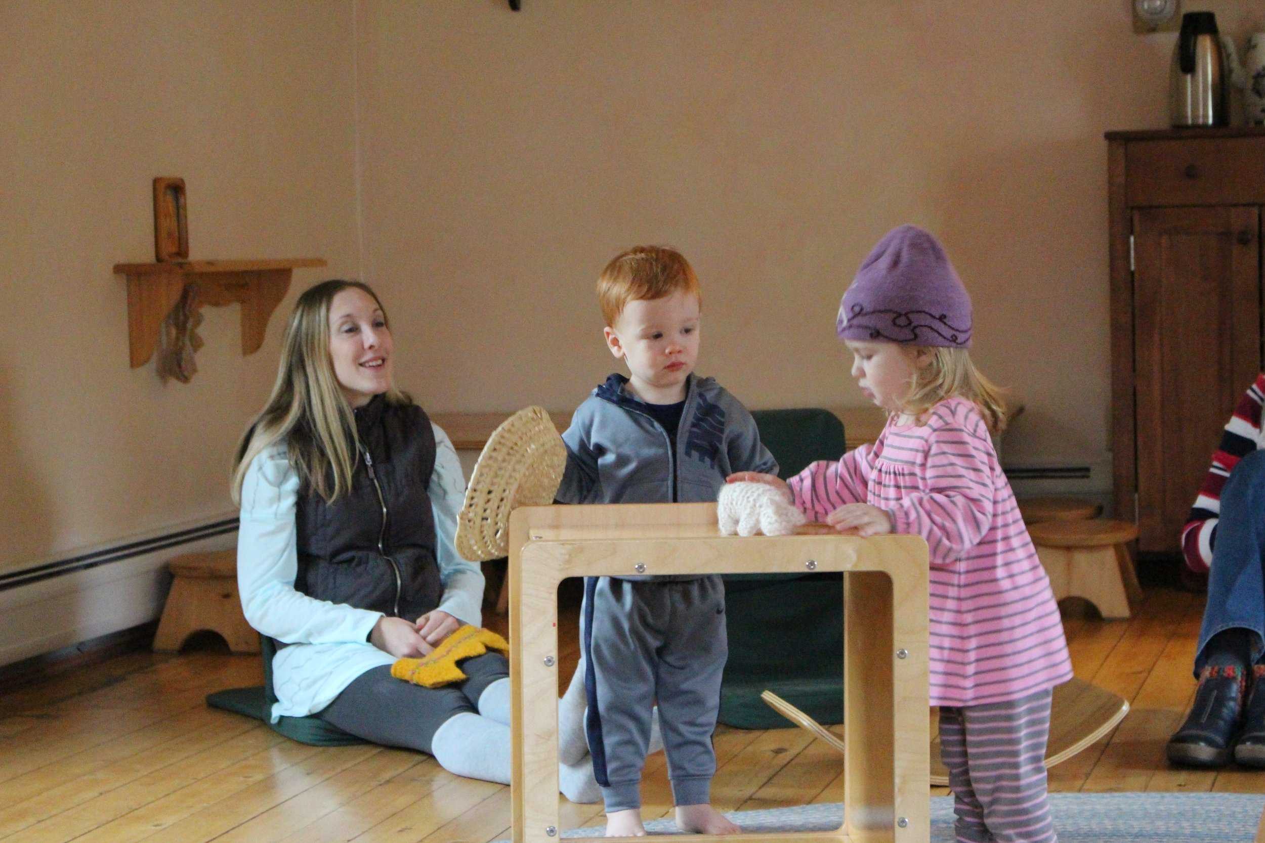 Parents spend much of their days keeping up with all the needs of their children. In our classes parents can enjoy a break by sitting around the edges of the room and bringing their attention to the children as they play.