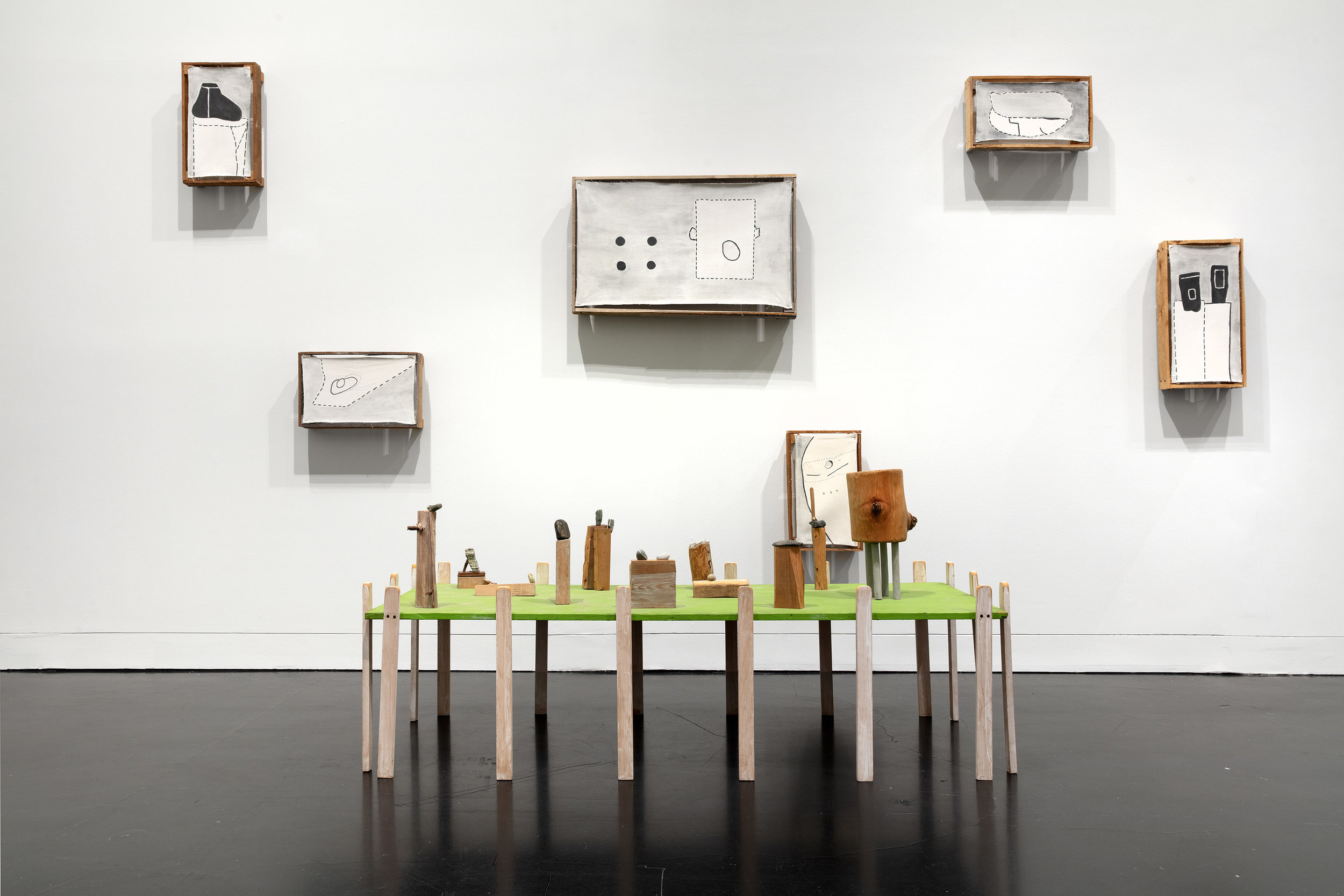 Ree Morton,  Souvenir Piece , 1973, acrylic paint on canvas mounted on wood, wood, acrylic paint, and stones, on view at the Frances Young Tang Teaching Museum and Art Gallery at Skidmore College through Jan. 5, 2020. Photograph by Jeremy Lawson.