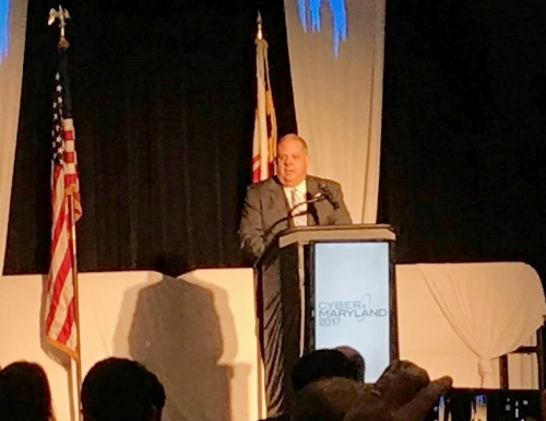 Governor Hogan speaking at the 2017 Cyber Maryland Coference