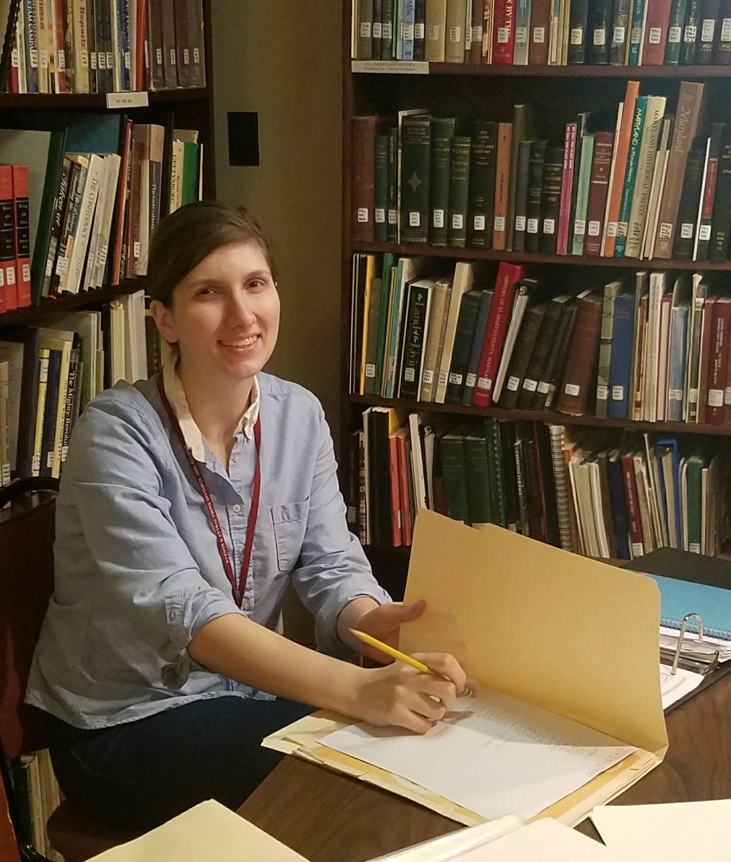 Olivia Shea volunteers in our library and helps make our historical documents accessible to the public.