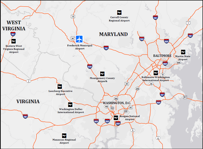 Easy Access to D.C. & Baltimore - Upon landing at FDK, travelers can be in Washington, D.C., or Baltimore, Md., in approximately 45 minutes.Interstates I-70 and I-270 converge in Frederick, so getting anywhere in the region is easy with convenient highway access.