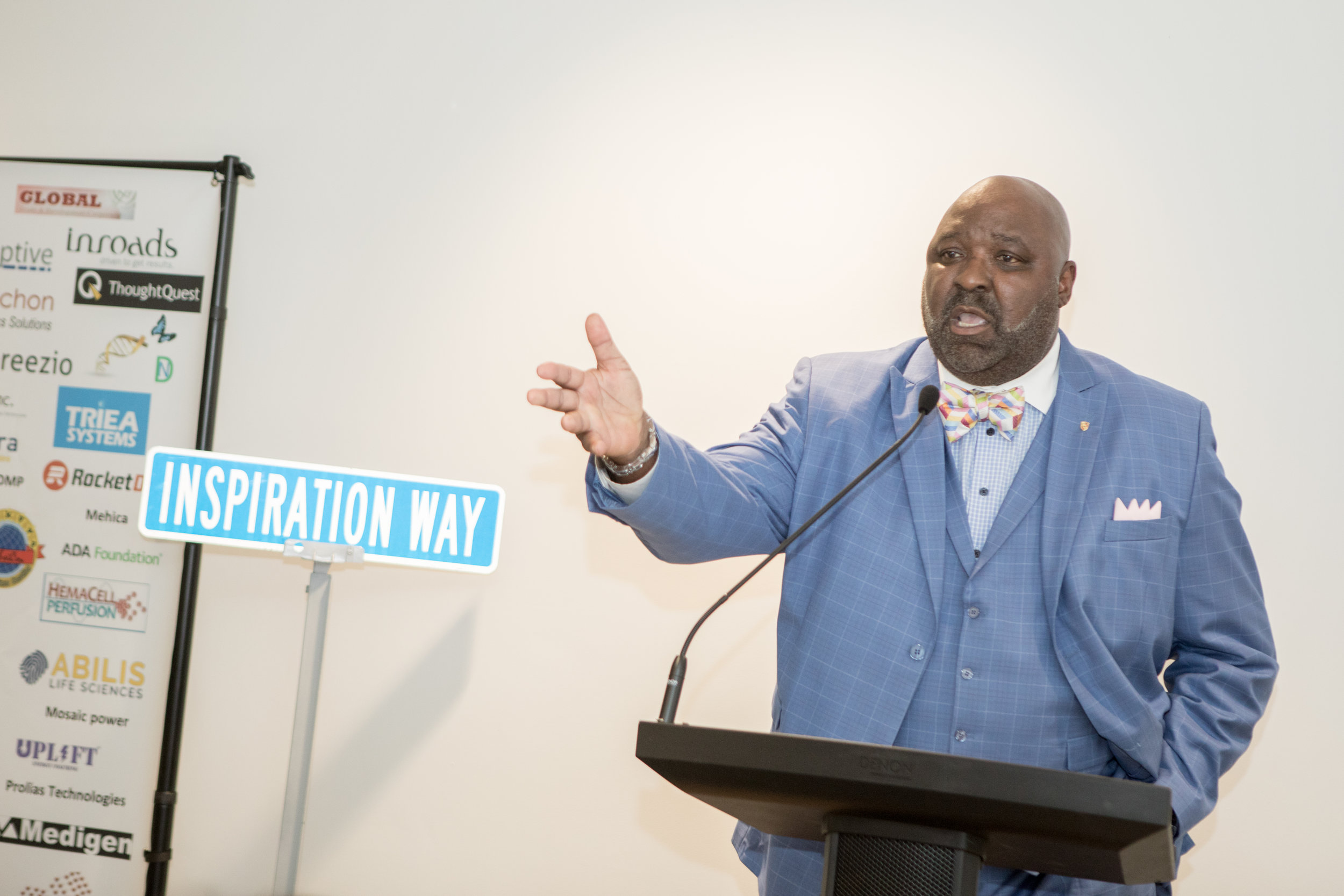 Sherman Coleman speaks to attendees in June at the monthly MBV networking session.