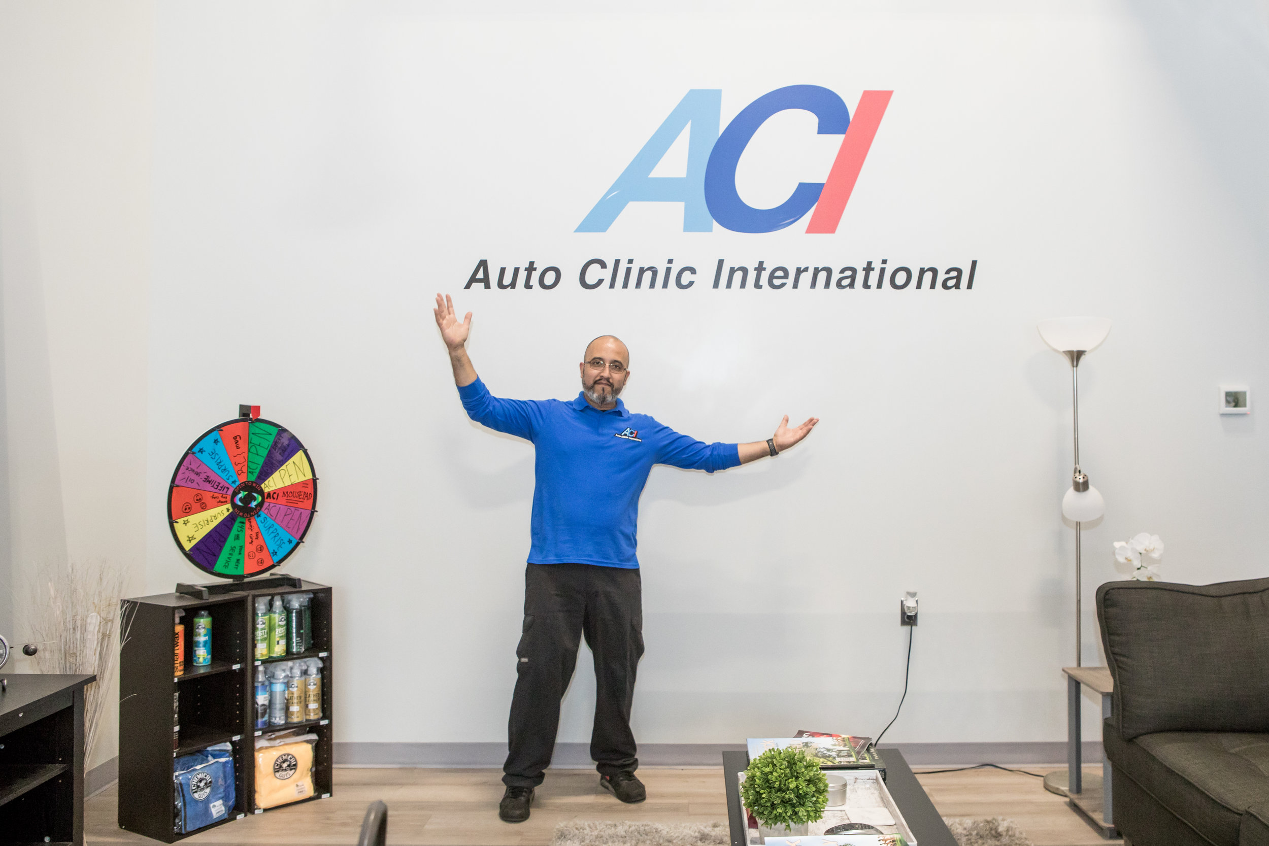 Edgar Opazo shows off the truly deluxe waiting room at ACI.