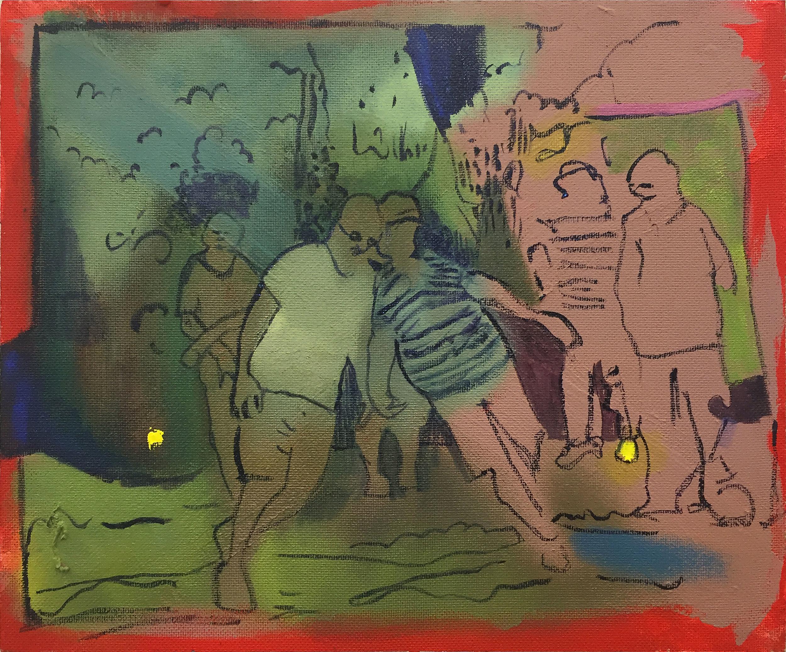 "Lean on Me (office picnic) 2016, oil on Masonite, 18 x 24"""