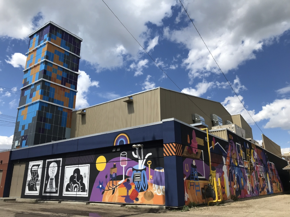 Mural on the Varscona Theatre with Jill Stanton as Mentor, Nextfest 2018