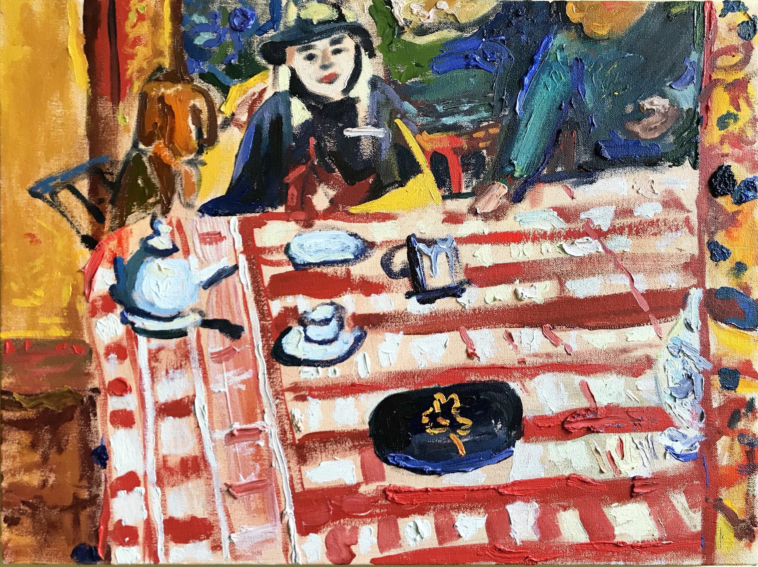"""Bonnard with GG, oil on canvas, 16 x 20"""""""